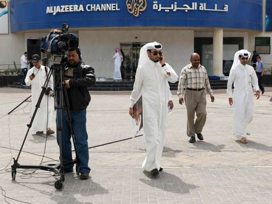 Outside the Al Jazeera Arabic studios