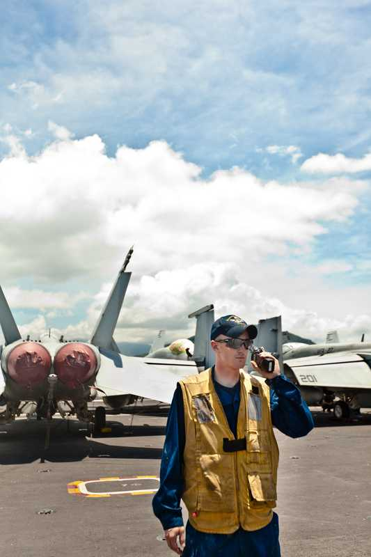 Crew keeps watch over its F/A-18s, which are worth €55m a piece