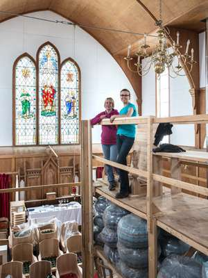 Nina McGrath (left) and Heather Morton, looking after storage from the inn at a deconsecrated church nearby, which will become a concert hall