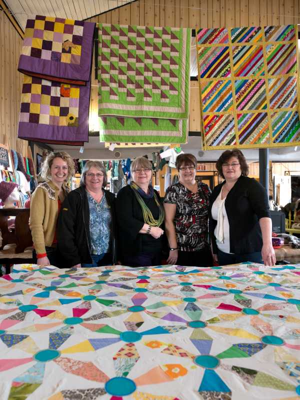Briton Yvonne Mullock (far left) and the ladies of the textile guild