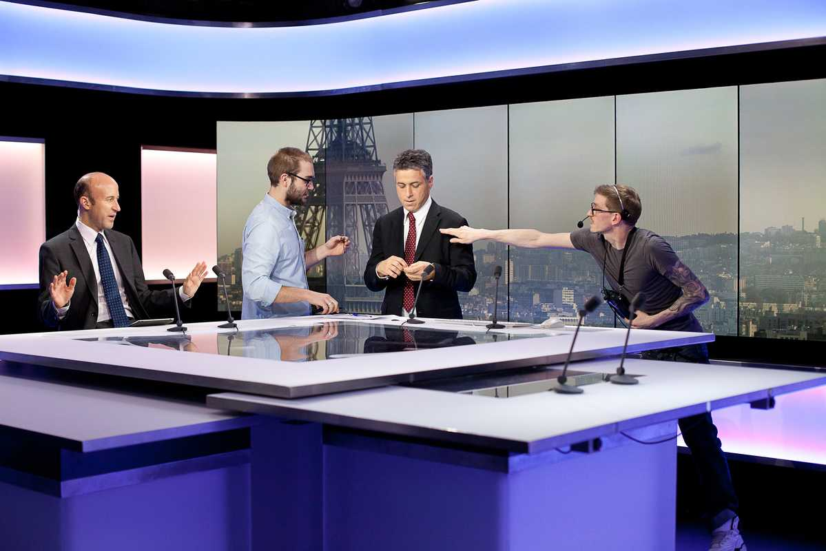 François Picard (centre right) seconds before going live