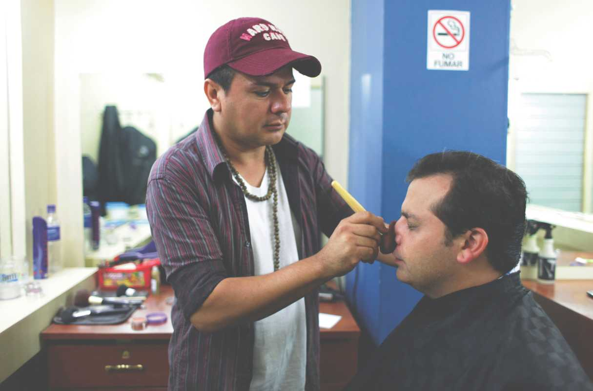 Makeup artist Eduardo Quintanilla gets Dada ready for a TV appearance on Channel 33