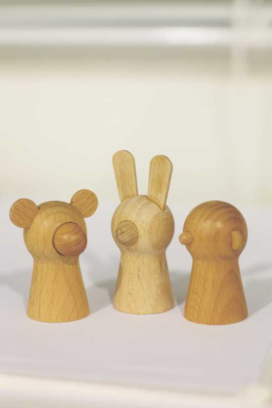 Nakabo's wooden finger puppets which were sold by Muji