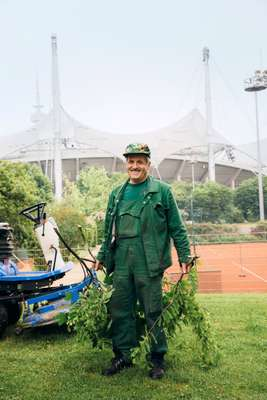 Gardener keeping the park pruned and perfect