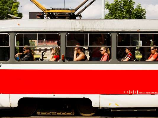 One of Brno's distinctive trams