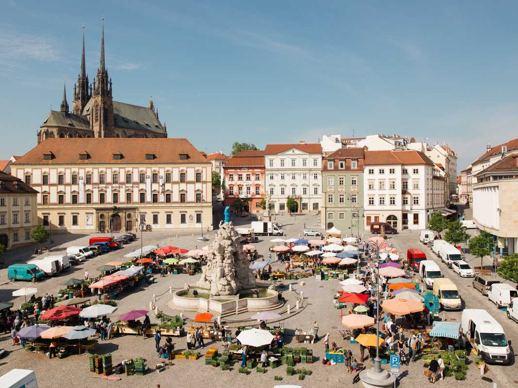 Zelny Square overlooked by the neo-gothic spires of the Cathedral of Saint Peter and Paul