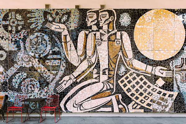 Intricate mosaics at ExpoGeorgia acknowledge Soviet scientific progress