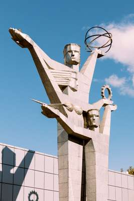 Statues celebrating science adorn the grounds of the 1960s ExpoGeorgia exhibition centre
