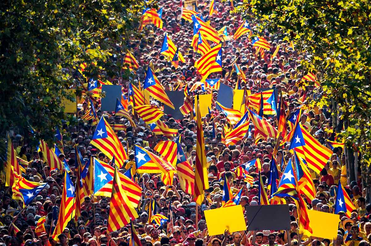 Demonstrators waving pro-independence Catalan flags during a rally as part of the celebrations of the National Day of Catalonia in Barcelona.