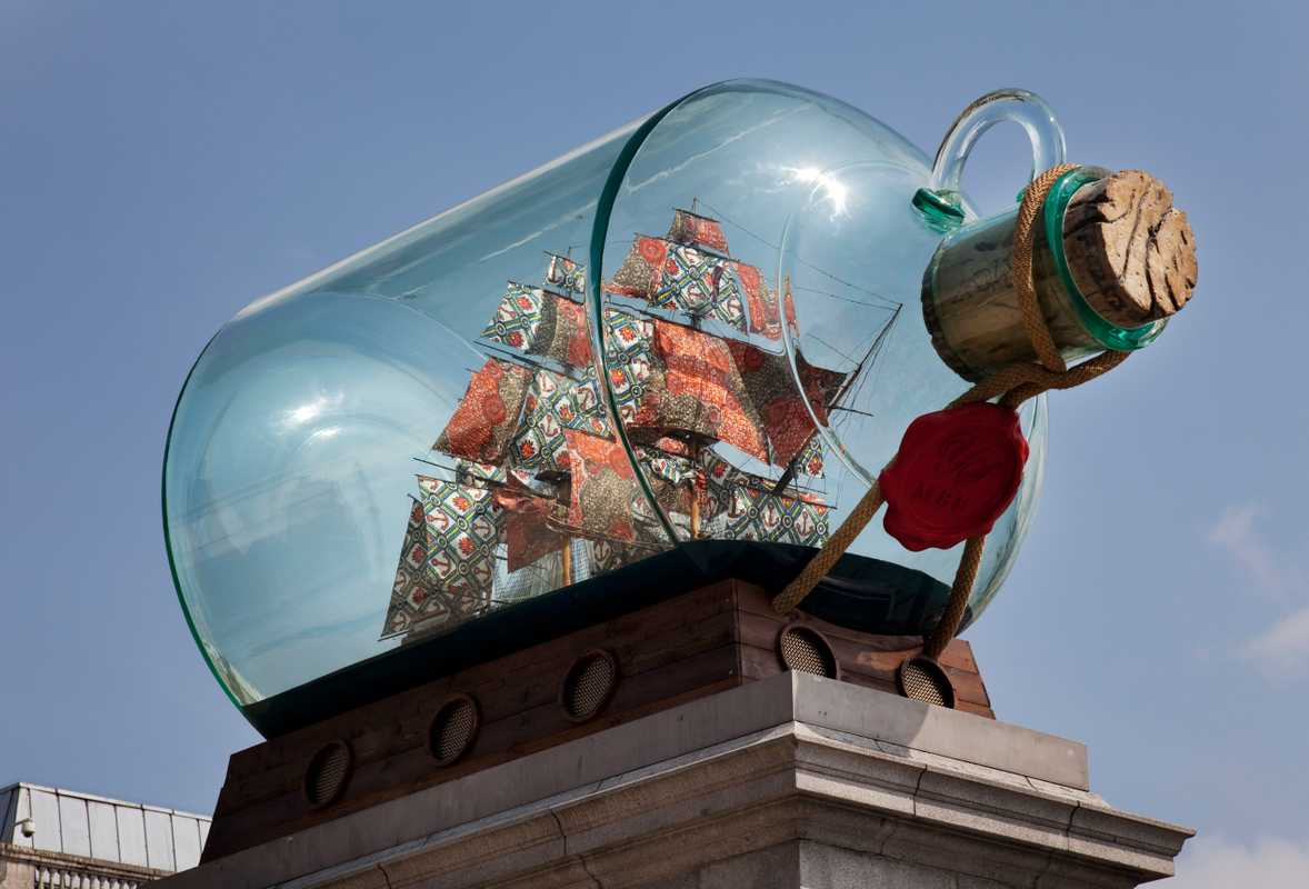 'Nelson's Ship in a Bottle' displayed 	on the fourth plinth in Trafalgar Square