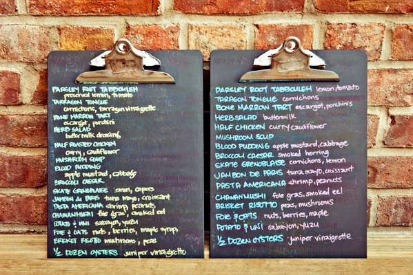 Chalkboard menus in the restaurant