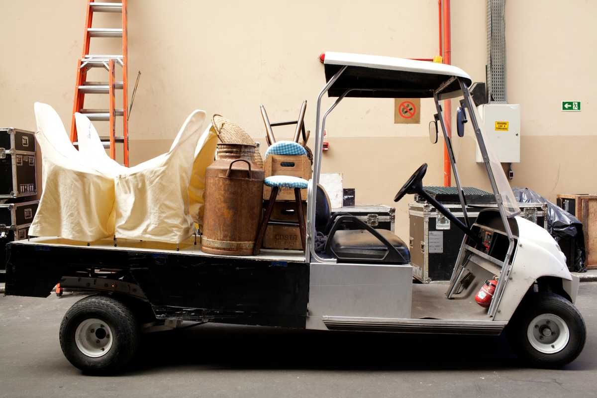 One of Projac's fleet of golf buggies