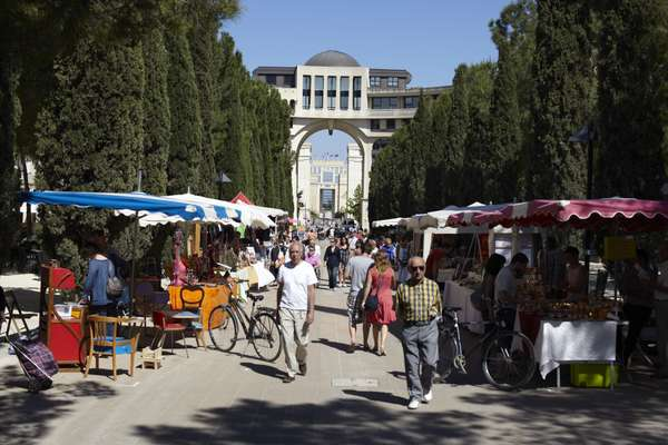Food stalls in the central avenue at Antigone