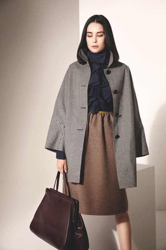 Coat by Mackintosh, dress by Fendi, bag by Valextra