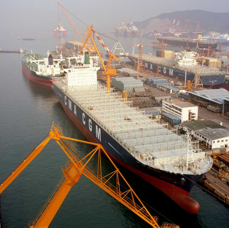 Container ship at DSME