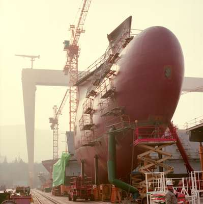 Stem of a container ship at DSME