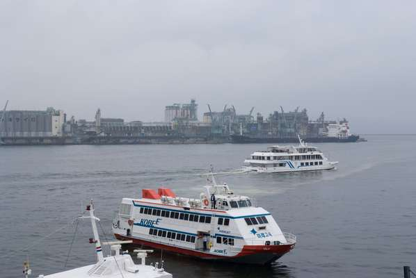 A ferry in Hakata Port, bound for Korea
