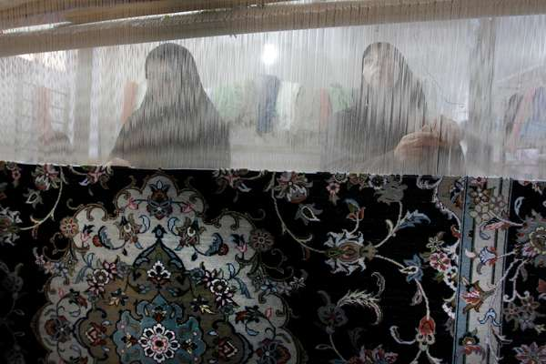 Loom workers in Kashan, 240km south of Tehran