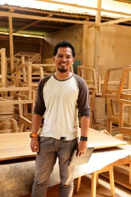 Product designer Satya Bramantya at his woodworking studio