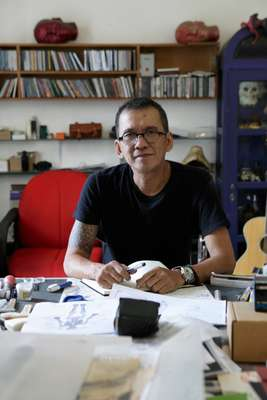 Leading contemporary artist Agus Suwage at his studio in Yogya