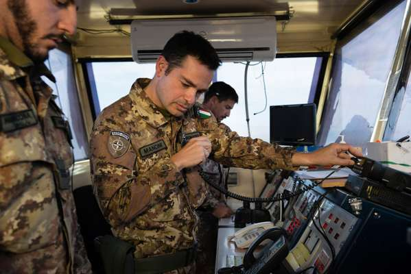 Italian Nato soldiers managing air-traffic control in Herat