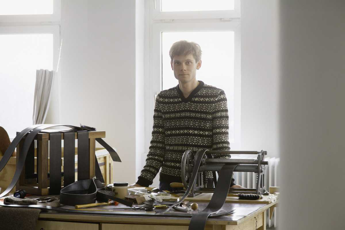 Daniel Heer in his shop in Berlin