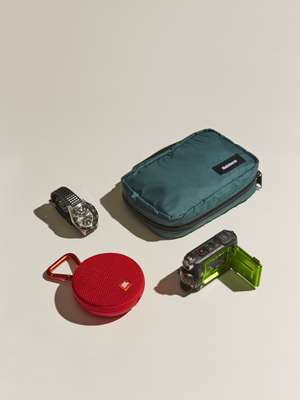 Watch by Seiko Prospex, pouch by Finisterre, camera by Olympus, speaker by JBL