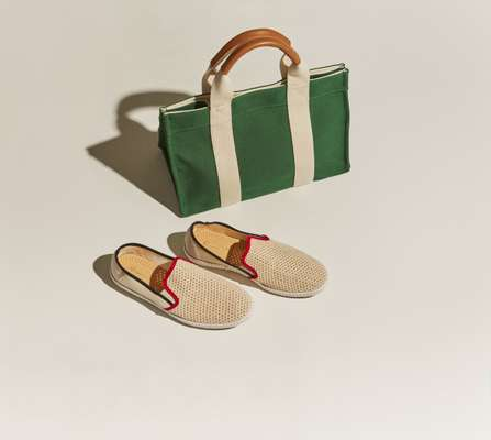 Tote bag by Rue De Verneuil, slip-ons by Rivieras