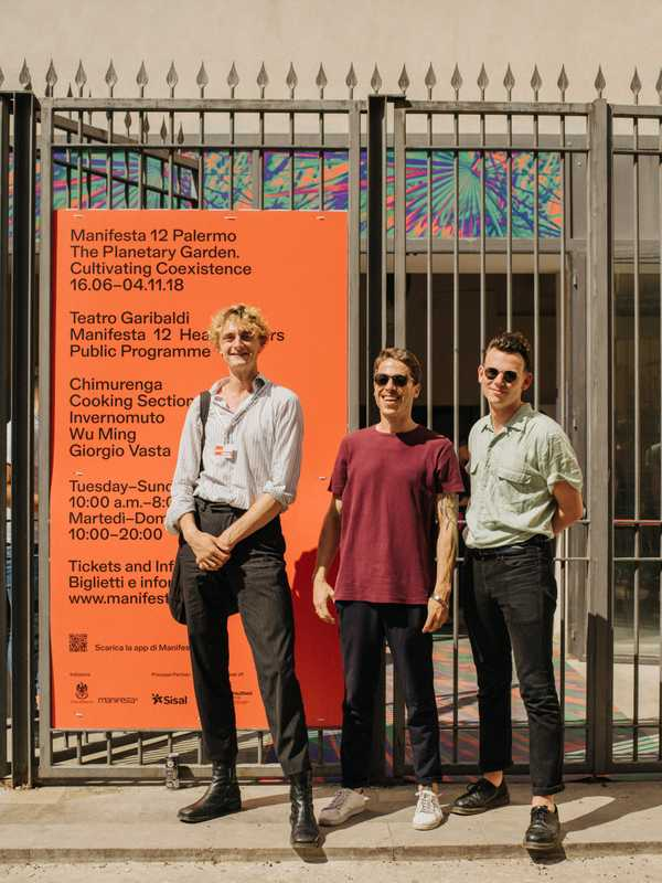 (Left to right) Manifesta's Max Bouwhuis, Giovanni Mazzola and Jeroen de Smalen