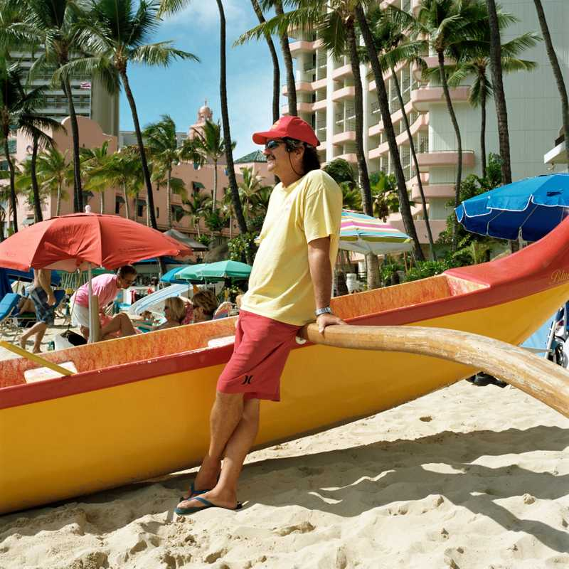 Didi Robello, an original beach boy who runs Aloha Beach Services on Waikiki