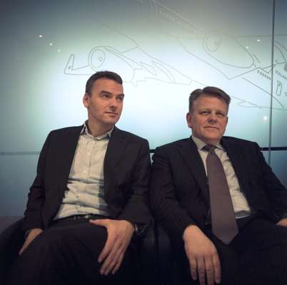 Deputy CEO of IcelandAir Group, Sigthor Einarsson and president and CEO, Bjorgolfur Johannsson