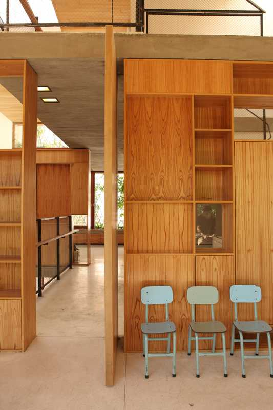 The building's interior is made up of chinaberry wood panelling