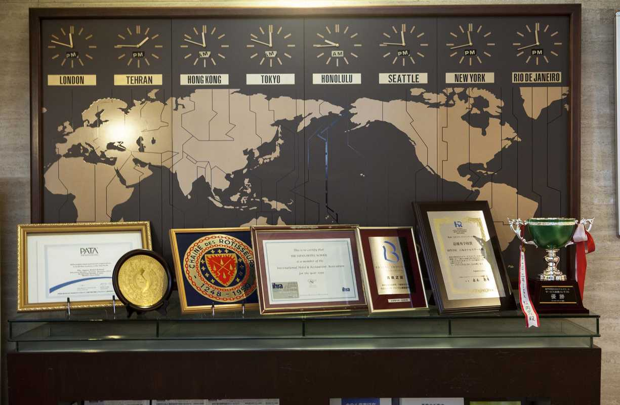 World clock and awards in the lobby
