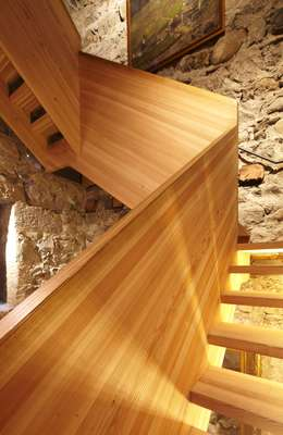 Larch stairs in the Messner Mountain Museum in Brunico