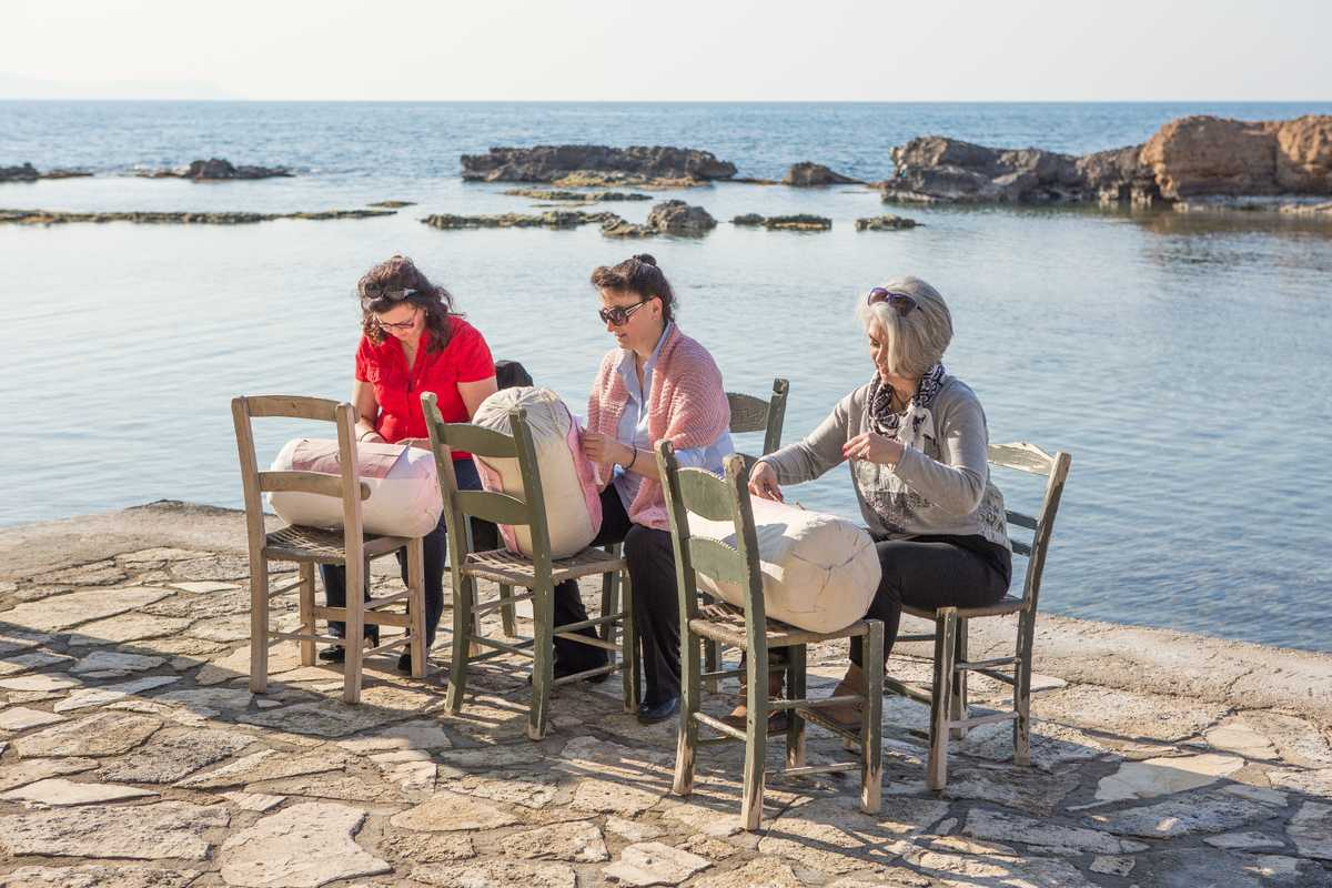 Women at work by the sea in Chania