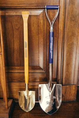 Shovels used at past ground-breaking ceremonies