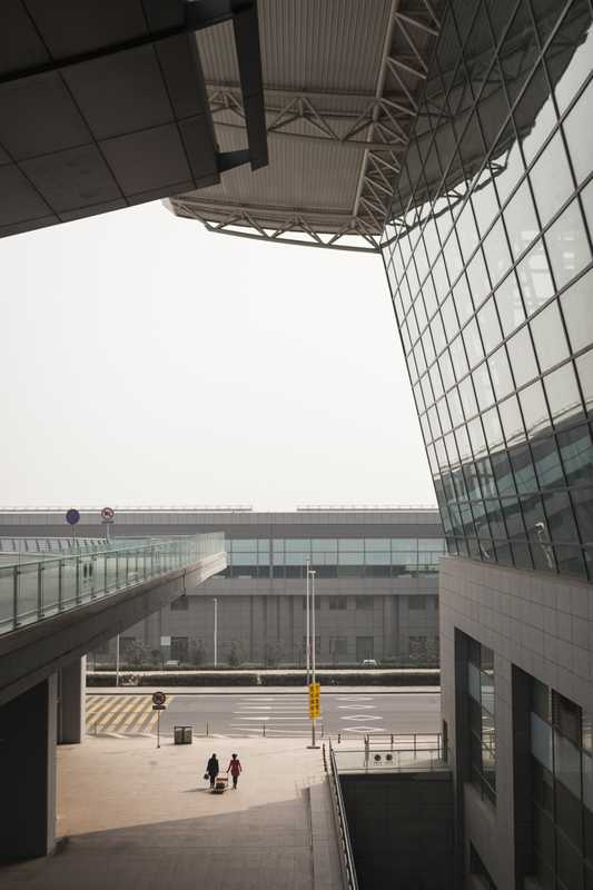 View from the departures level at Terminal 3 of Xi'an Xianyang International Airport