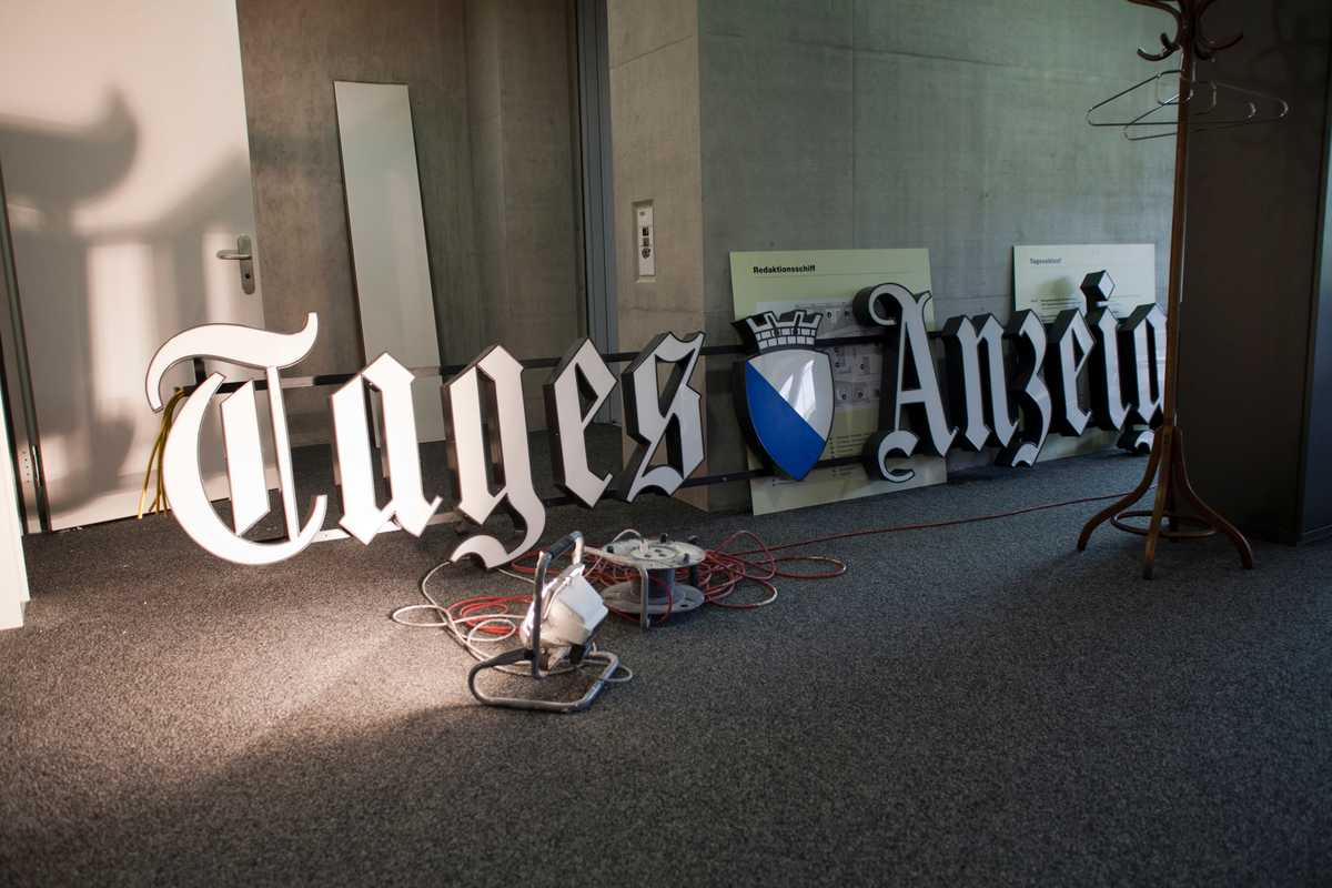 The Tages-Anzeiger sign awaits a new home