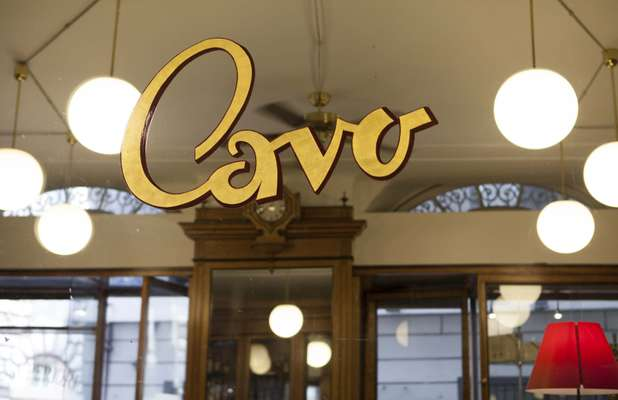 Gold-leaf lettering at Cavo pastry shop