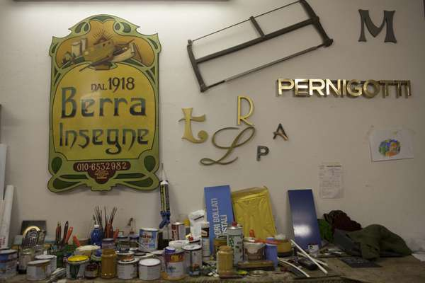 Berra's old shop sign in workshop