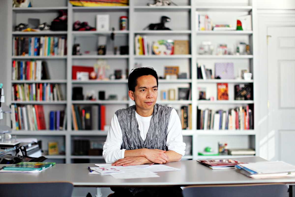 President of the Rhode Island School Design, John Maeda, in his office