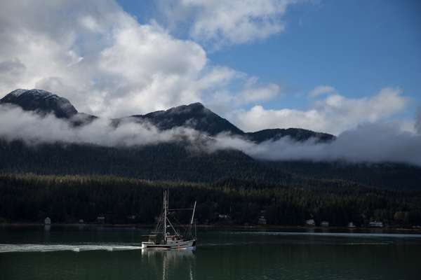 The 'Sitkoh', motoring north on the Gastineau  Channel