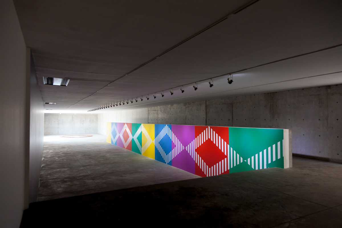 'Two Rhythms for a Frieze', work in situ in the gallery by Daniel Buren