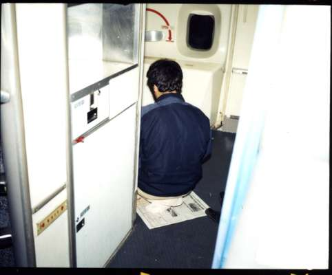 A passenger praying