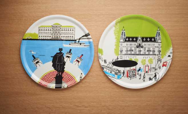 Trays featuring illustrations by Olle Eksell