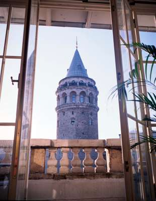 A view of the Galata Tower from a private residence in Istanbul's Galata neighbourhood