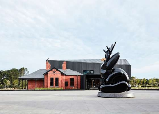 Hotel entrance, featuring a seven-metre jackalope sculpture by Emily Floyd