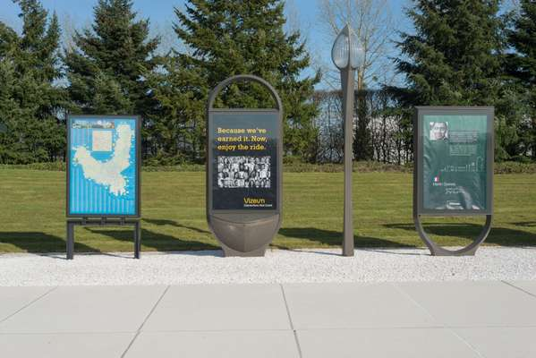 Poster boards displayed at the outdoor showroom