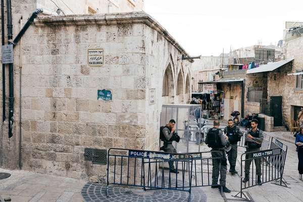 Jerusalem police on the Via Dolorosa, a street in the Old City