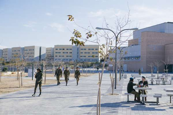 IDF soldiers on the main square of Ir Habahadim